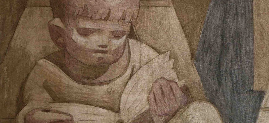 Detail of boy reading - fresco by Jean Charlot, St Benedict's Abbey, Atchison, KS