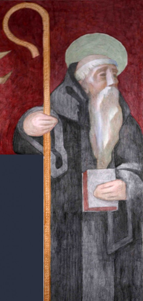 image of St Benedict from Fresco at St Benedict's Abbey, Atchison