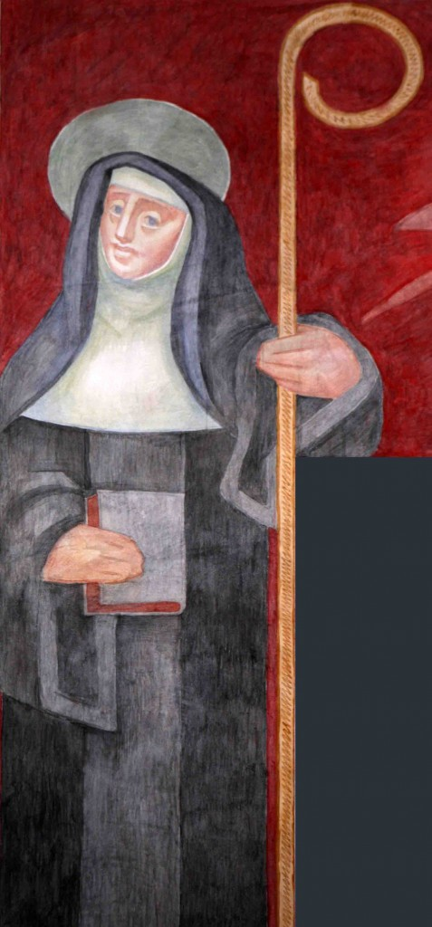 image of St Scholastica from Fresco at St Benedict's Abbey, Atchison