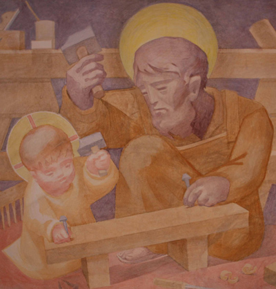 image of Joseph and Jesus from the Fresco at St Benedict's Abbey, Atchison